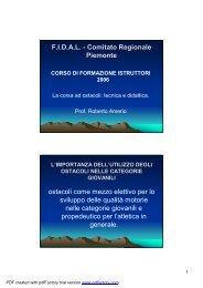 La corsa ad ostacoli: tecnica e didattica - Fidal Piemonte