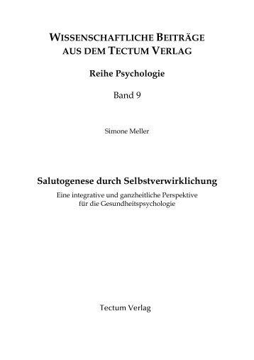 Salutogenese durch Selbstverwirklichung - Tectum Verlag