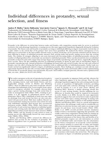 Individual differences in protandry, sexual selection, and fitness