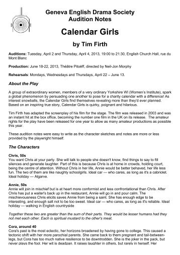 Calendar Girls - Audition Notes - Geneva English Drama Society