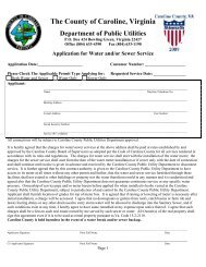 Application for Water and/or Sewer Service - Caroline County!