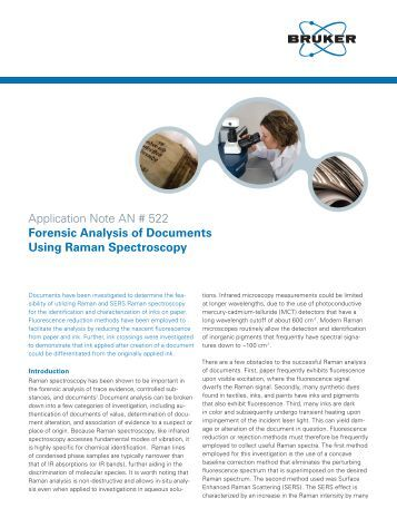Forensic Analysis of Documents Using Raman Spectroscopy - Bruker
