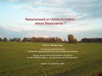 Nebenerwerb in Ostdeutschland - etwas Besonderes?, Prof. Dr ...