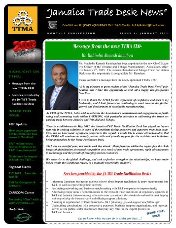 """Jamaica Trade Desk News"" - Trinidad and Tobago Manufacturers ..."