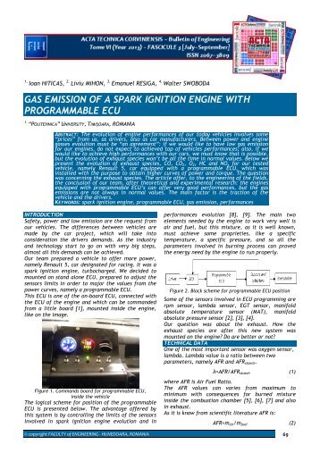 gas emission of a spark ignition engine with programmable ecu