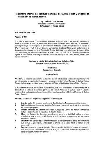Reglamento Interior del Instituto Municipal de Cultura Física y ...