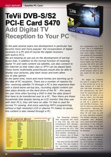 TeVii DVB-S/S2 PCI-E Card S470 - TELE-satellite International ...