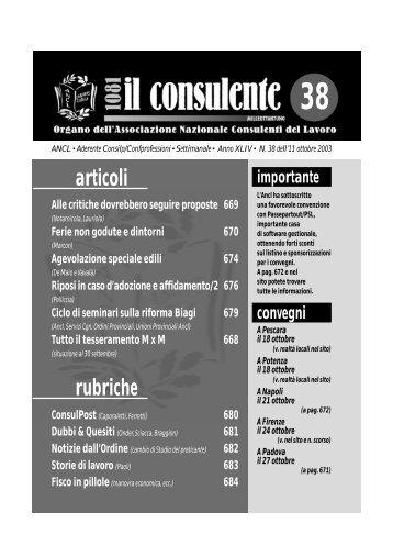 N. 38 dell'11 ottobre 2003 680 il consulente 1081 - Ancl
