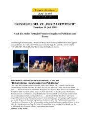 """pressespiegel zu """"der zarewitsch"""" - Lehár Festival in Bad Ischl"""