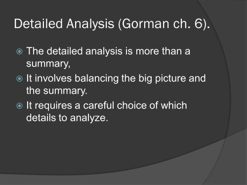 Detailed Analysis Gorman ch. 6.