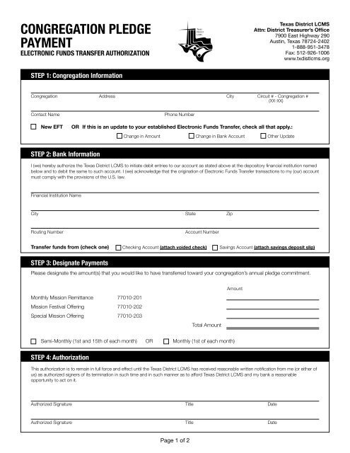Eft Authorization Form Pdf The Texas District Of The Lutheran