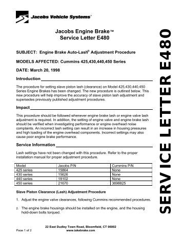 455 series housing assemb service letter e480 jacobs vehicle systems