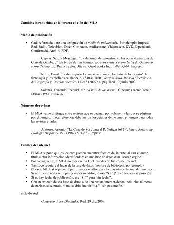 Cambios introducidos en la tercera edición del MLA Medio de ...