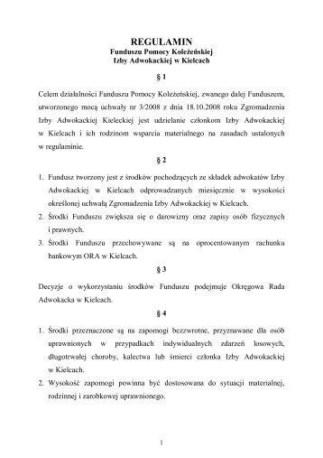 Regulamin Funduszu Pomocy Koleżeńskiej - Okręgowa Rada ...