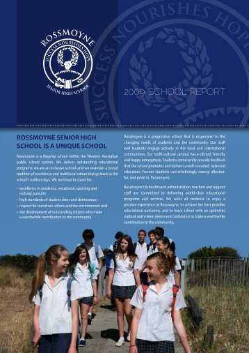 2009 Annual Report(PDF) - Rossmoyne Senior High School