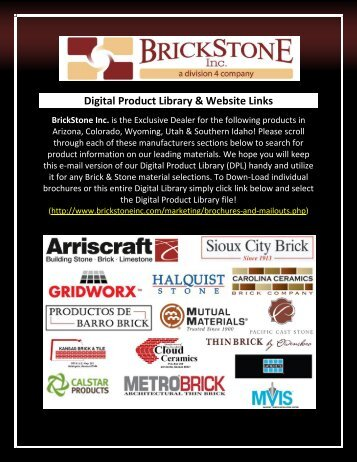 Digital Product Library & Website Links - Brick and Stone Products ...