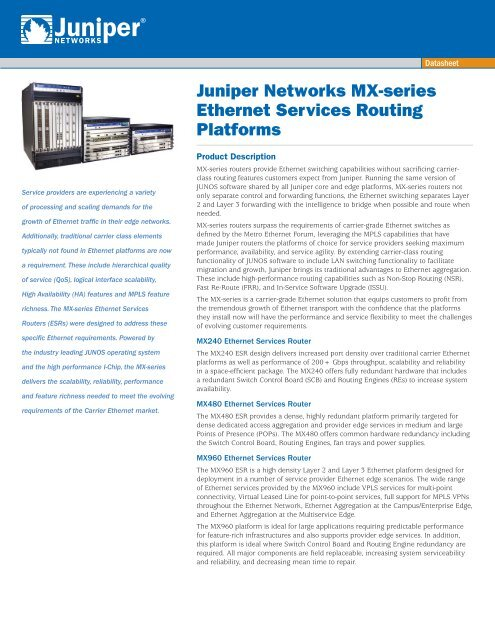 Juniper Networks MX-series Ethernet Services Routing