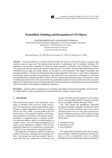 Probabilistic Modeling and Recognition of 3-D Objects - ResearchGate