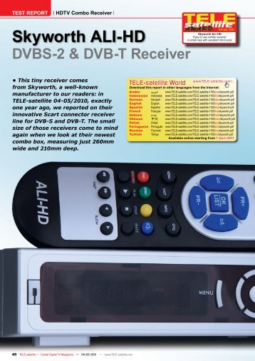 DVBS-2 & DVB-T Receiver Skyworth ALI-HD - TELE-satellite ...