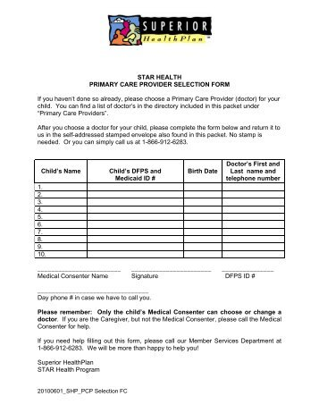 Patient Self-Assessment Form For Initial Primary Care