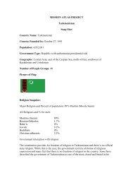 MISSION ATLAS PROJECT Turkmenistan Snap Shot ... - WorldMap