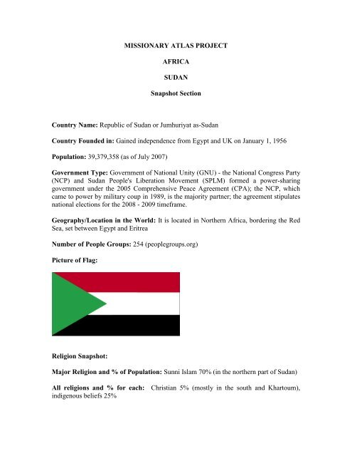Sudan Profile Pdf Worldmap