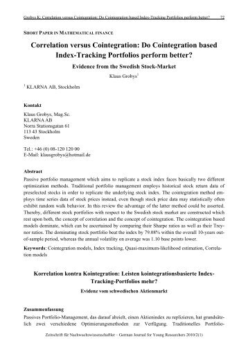 Correlation versus Cointegration: Do Cointegration based Index ...