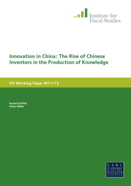 Innovation in China - The Institute For Fiscal Studies