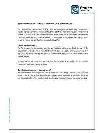 transportation of Dangerous Goods - Omnia