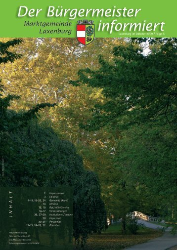 Der Bürgermeister informiert, Folge 5, Oktober 2009 - in Laxenburg