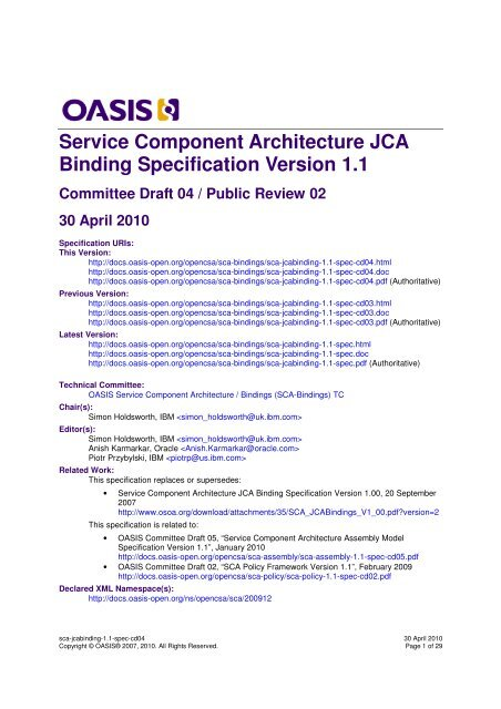 Service Component Architecture JCA Binding Specification Version ...
