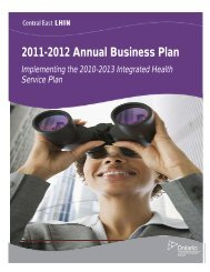 2012 Annual Business Plan - Central East Local Health Integration ...