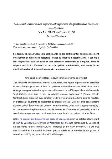 Conférence de Mme Sylvie Latreille pdf - Assemblée des évêques ...