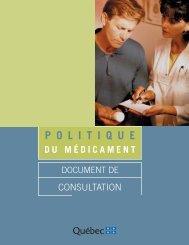 Politique du médicament - Gouvernement du Québec