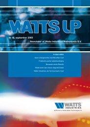 Nr 10, september 2009 Newsletter of Watts Industries Netherlands B.V.
