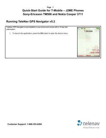 TeleNav v5.2 Quick-Start  Guide - T-Mobile (J2ME Ericsson and Nokia)