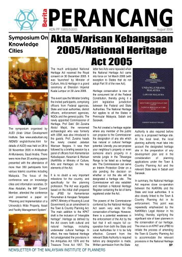 Download July 2006 Issue - Malaysian Institute of Planners