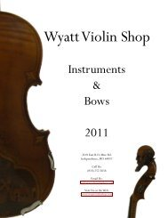 "Model ""Amati"" & ""Artisan"" - Wyatt Violin Shop Kansas City"