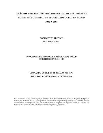 Analisis Descriptivo Preliminar de los Recobros - Ministerio de ...