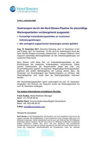 Gastransport durch die Nord Stream-Pipeline für planmäßige ...