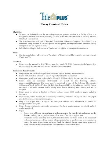 Essay Contest Rules - Faculty of Law