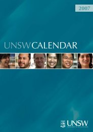 Calendar - UNSW Handbook - University of New South Wales