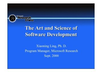 The Art and Science of SoftZare Development