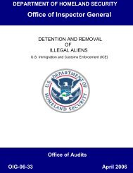 Detention and Removal of Illegal Aliens - Office of Inspector General