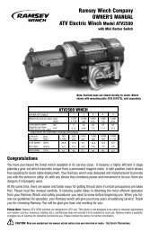 Ramsey Winch Company OWNER'S MANUAL ATV Electric Winch ...