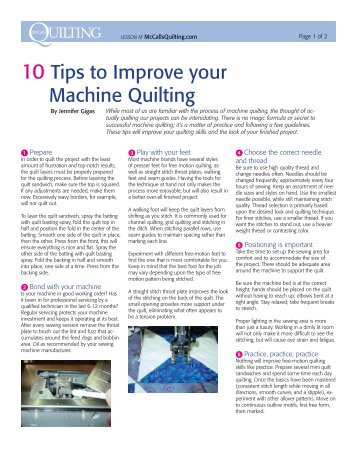 10 Tips to Improve your Machine Quilting - McCalls Quilting
