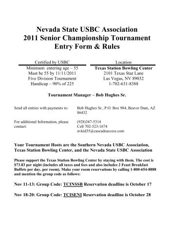 Nevada State USBC Association 2011 Senior Championship