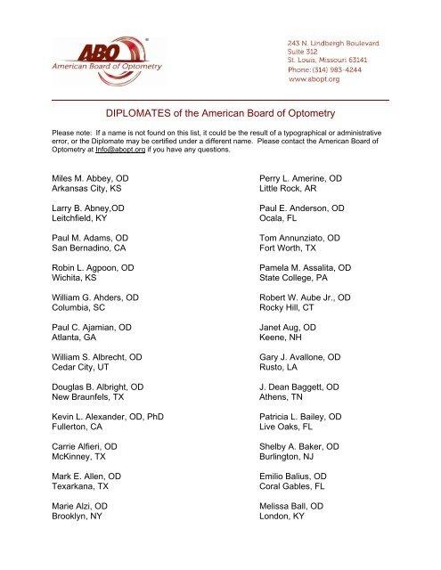 status wa paling keren  diplomates of the american board of optometry cecity