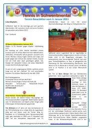 Tennis-Newsletter vom 3. Januar 2011 - Tennis in Schwentinental