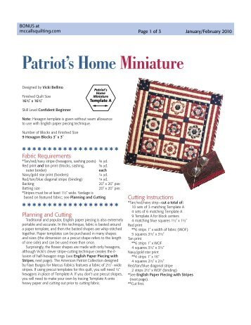 a mini free quilt pattern! - McCalls Quilting